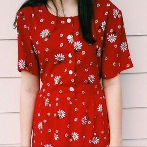 Vintage Blair Red flower pattern dress y2k